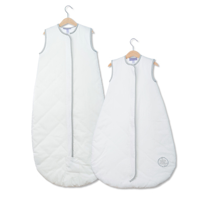 NEW Save Our Sleep, Safe Baby Sleep Bag 'White with Platinum Binding' Travel 0.5, 1 TOG or 2.5 TOG
